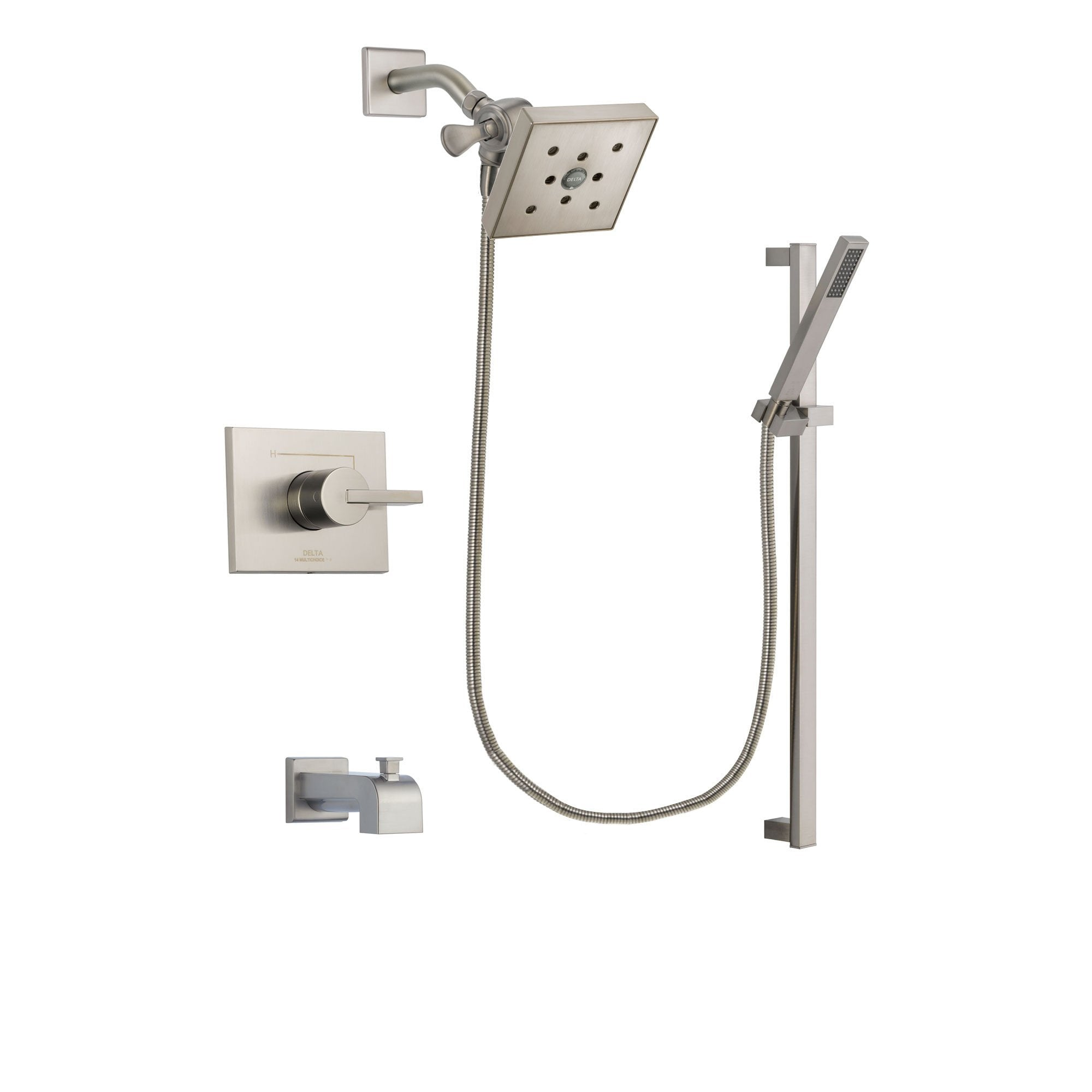 Superior Delta Vero Stainless Steel Finish Tub And Shower Faucet System Package With  Square Shower Head And