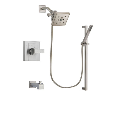 Delta Arzo Stainless Steel Finish Tub and Shower Faucet System Package with Square Shower Head and Modern Personal Hand Shower with Slide Bar Includes Rough-in Valve and Tub Spout DSP2373V