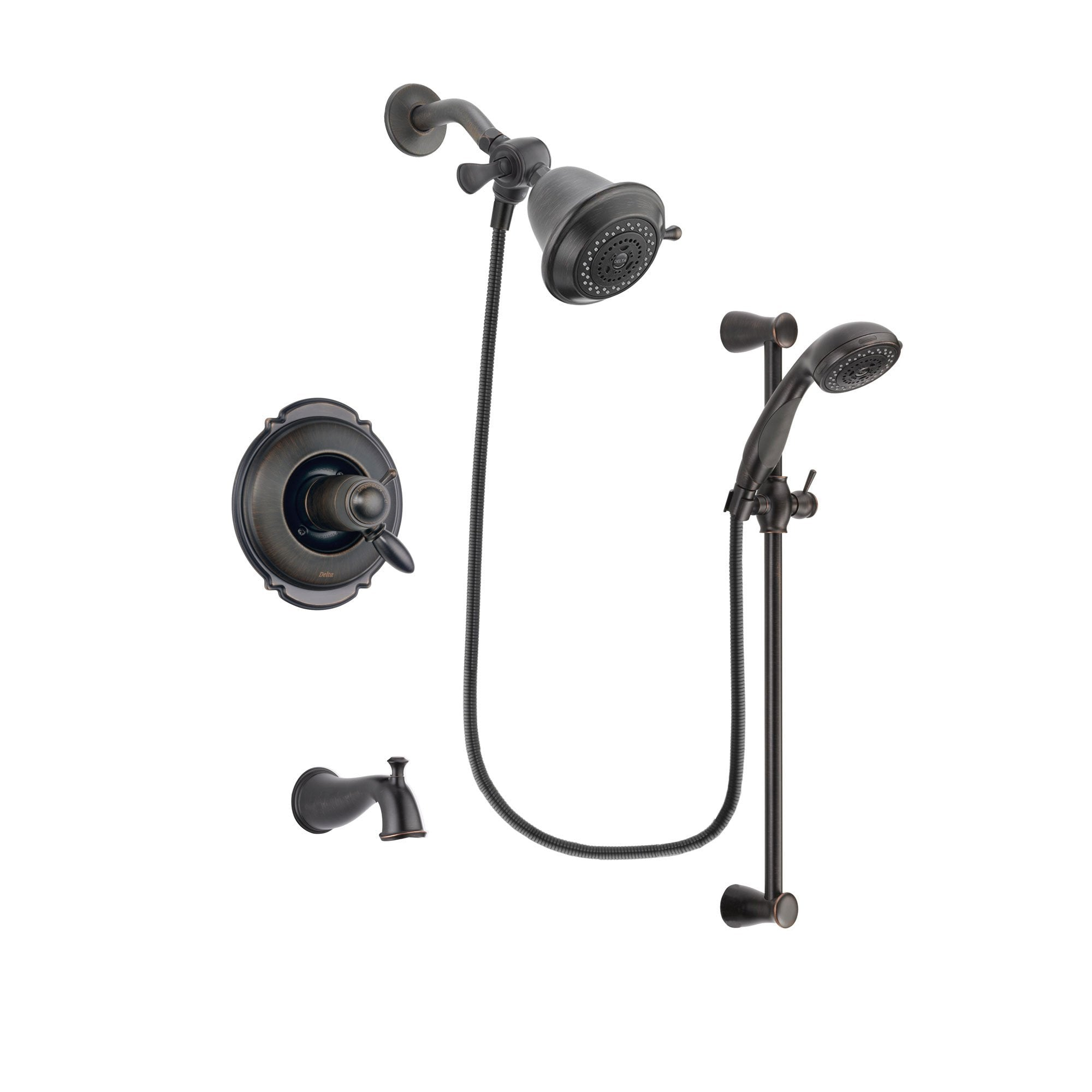 Delta Victorian Venetian Bronze Finish Thermostatic Tub and Shower Faucet System Package with Shower Head and Personal Handheld Shower Spray with Slide Bar Includes Rough-in Valve and Tub Spout DSP2623V