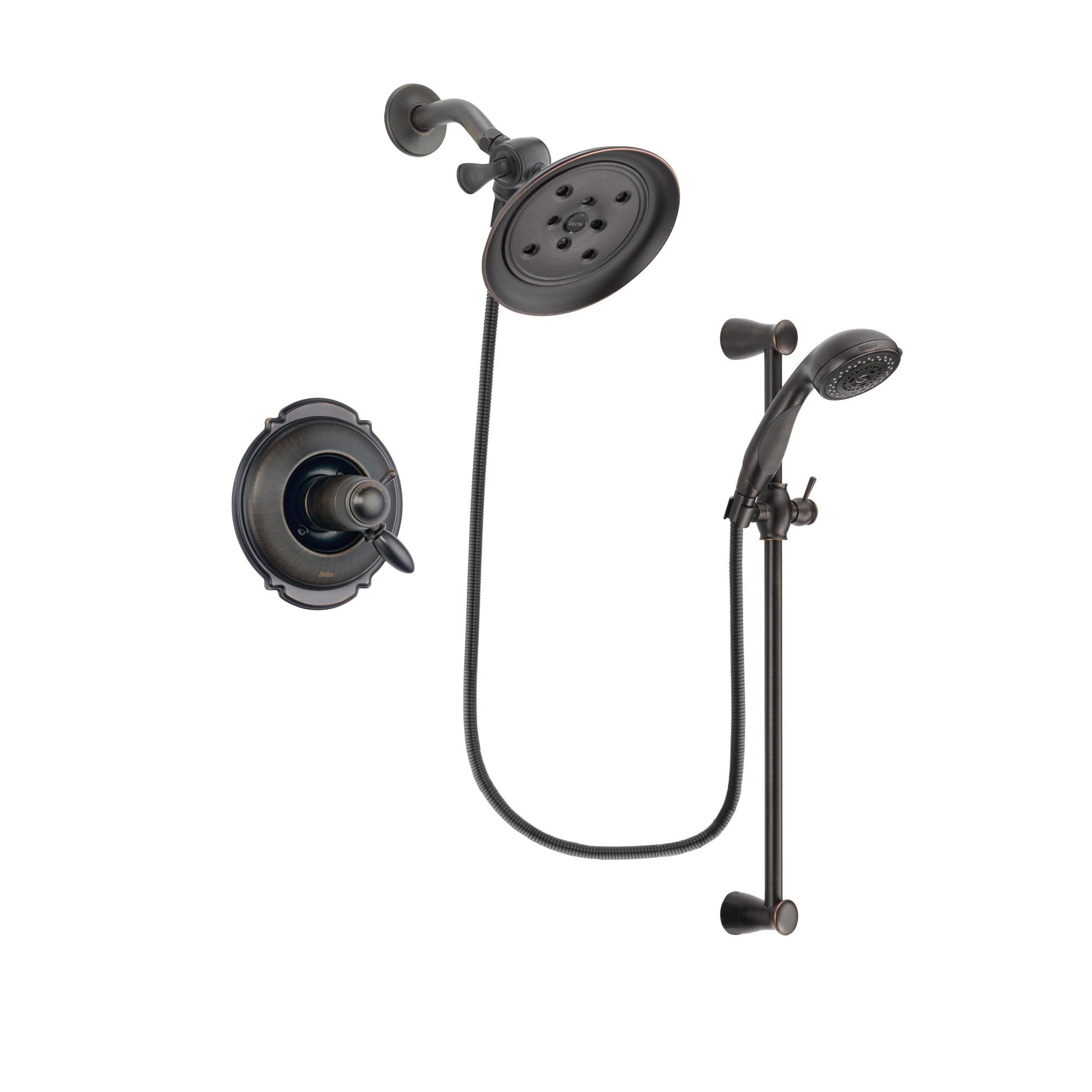 Merveilleux Delta Victorian Venetian Bronze Finish Thermostatic Shower Faucet System  Package With Large Rain Shower Head And