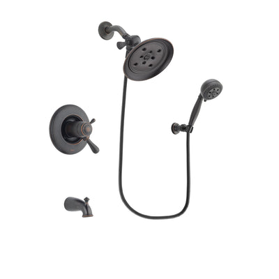 Delta Leland Venetian Bronze Finish Thermostatic Tub and Shower Faucet System Package with Large Rain Shower Head and 5-Setting Wall Mount Personal Handheld Shower Spray Includes Rough-in Valve and Tub Spout DSP2805V