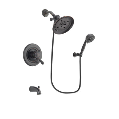 Delta Leland Venetian Bronze Finish Dual Control Tub and Shower Faucet System Package with Large Rain Shower Head and 5-Setting Wall Mount Personal Handheld Shower Spray Includes Rough-in Valve and Tub Spout DSP2823V