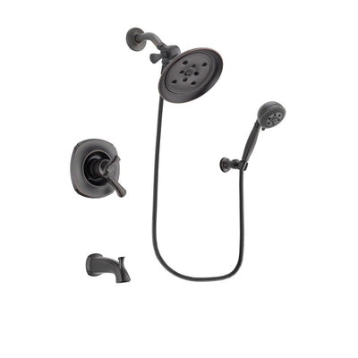 Delta Addison Venetian Bronze Finish Dual Control Tub and Shower Faucet System Package with Large Rain Shower Head and 5-Setting Wall Mount Personal Handheld Shower Spray Includes Rough-in Valve and Tub Spout DSP2825V