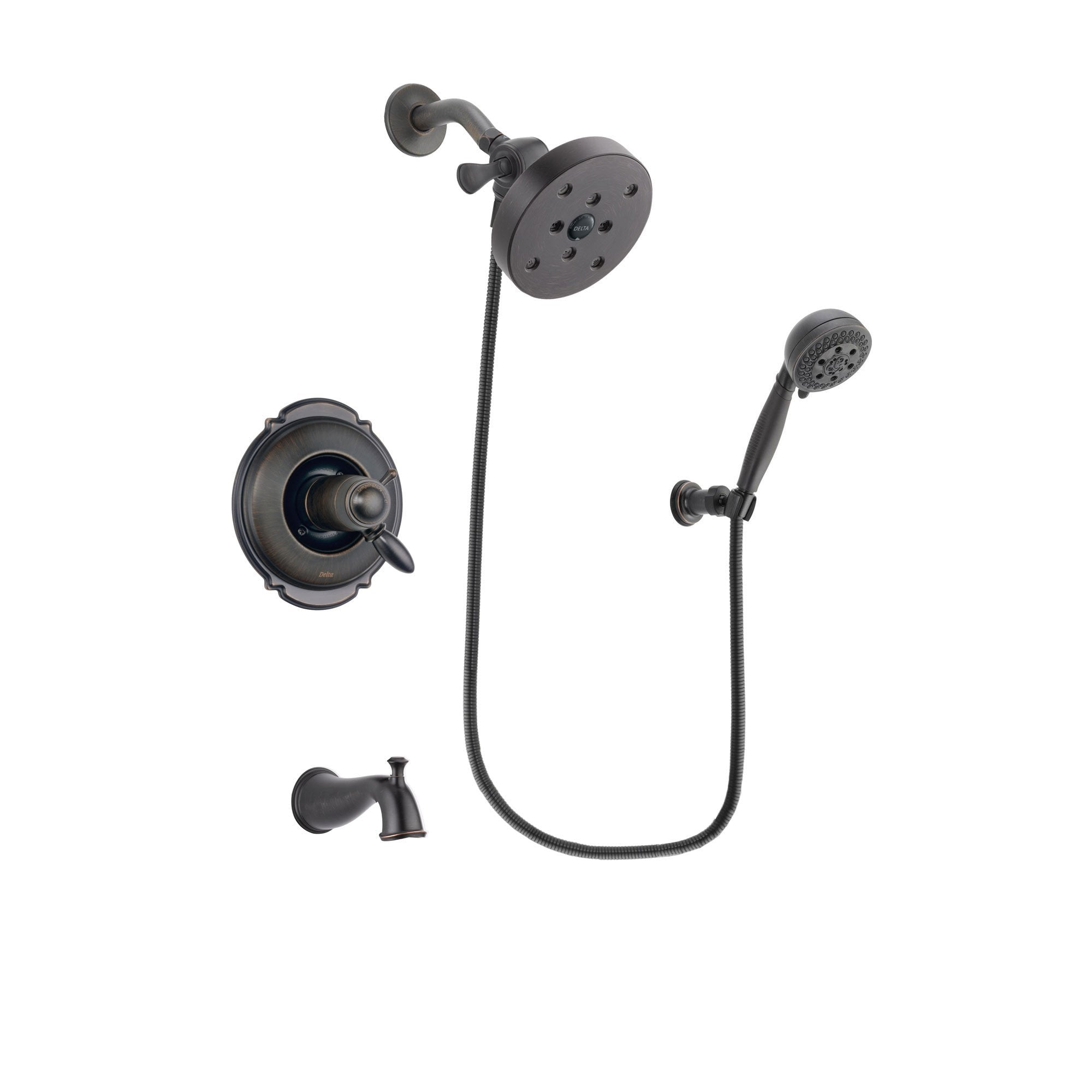 Delta Victorian Venetian Bronze Finish Thermostatic Tub and Shower Faucet System Package with 5-1/2 inch Showerhead and 5-Setting Wall Mount Personal Handheld Shower Spray Includes Rough-in Valve and Tub Spout DSP2833V