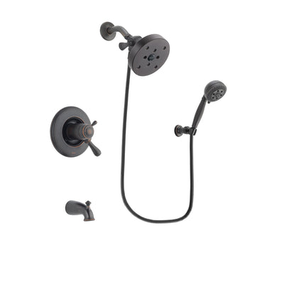 Delta Leland Venetian Bronze Finish Thermostatic Tub and Shower Faucet System Package with 5-1/2 inch Showerhead and 5-Setting Wall Mount Personal Handheld Shower Spray Includes Rough-in Valve and Tub Spout DSP2835V