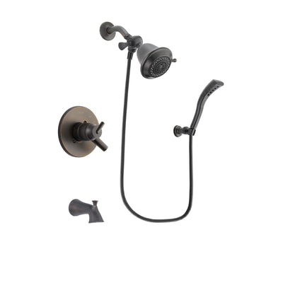 Delta Trinsic Venetian Bronze Finish Dual Control Tub and Shower Faucet System Package with Shower Head and Modern Wall Mount Personal Handheld Shower Spray Includes Rough-in Valve and Tub Spout DSP2881V