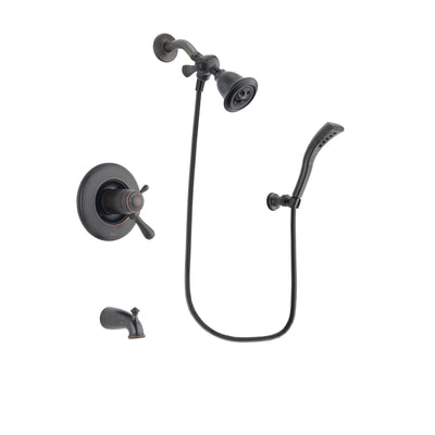 Delta Leland Venetian Bronze Finish Thermostatic Tub and Shower Faucet System Package with Water Efficient Showerhead and Modern Wall Mount Personal Handheld Shower Spray Includes Rough-in Valve and Tub Spout DSP2895V