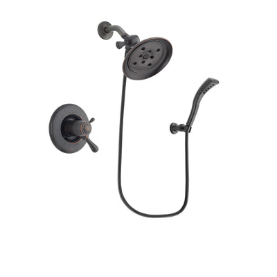 Delta Leland Venetian Bronze Finish Thermostatic Shower Faucet System Package with Large Rain Shower Head and Modern Wall Mount Personal Handheld Shower Spray Includes Rough-in Valve DSP2926V