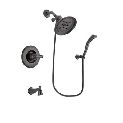 Delta Linden Venetian Bronze Finish Tub and Shower Faucet System Package with Large Rain Shower Head and Modern Wall Mount Personal Handheld Shower Spray Includes Rough-in Valve and Tub Spout DSP2937V