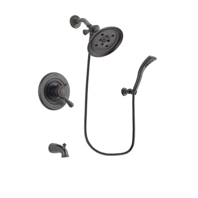 Delta Leland Venetian Bronze Finish Dual Control Tub and Shower Faucet System Package with Large Rain Shower Head and Modern Wall Mount Personal Handheld Shower Spray Includes Rough-in Valve and Tub Spout DSP2943V