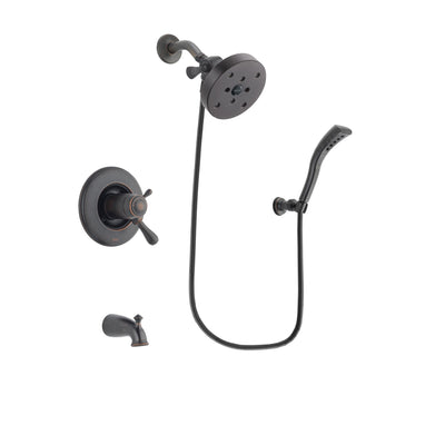 Delta Leland Venetian Bronze Finish Thermostatic Tub and Shower Faucet System Package with 5-1/2 inch Showerhead and Modern Wall Mount Personal Handheld Shower Spray Includes Rough-in Valve and Tub Spout DSP2955V