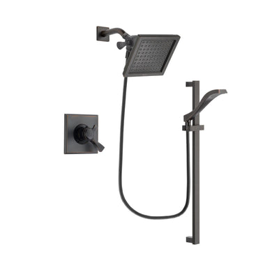 Delta Dryden Venetian Bronze Finish Dual Control Shower Faucet System Package with 6.5-inch Square Rain Showerhead and Modern Handheld Shower Spray with Slide Bar Includes Rough-in Valve DSP3122V