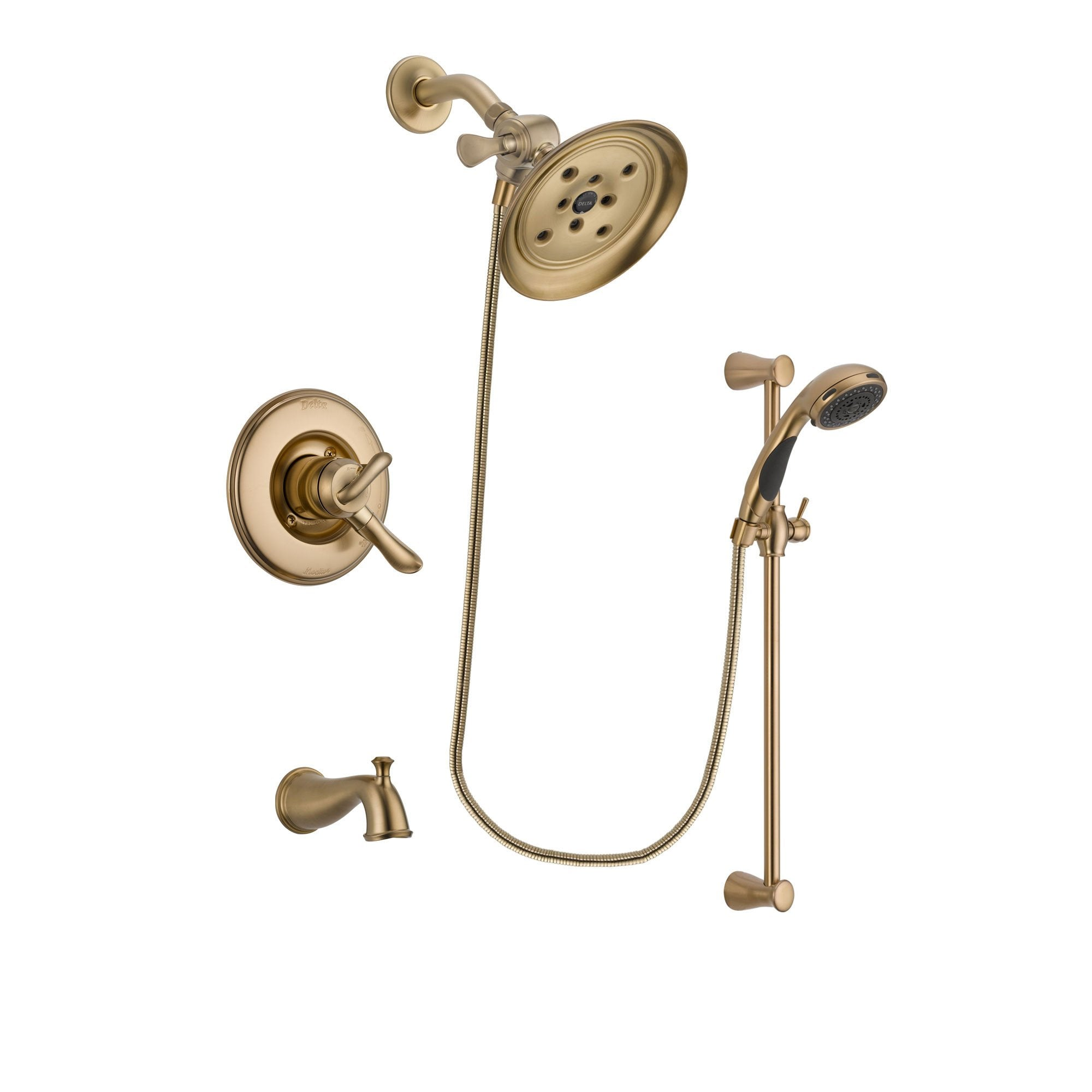 Delta Linden Champagne Bronze Tub and Shower System with Hand Shower DSP3495V