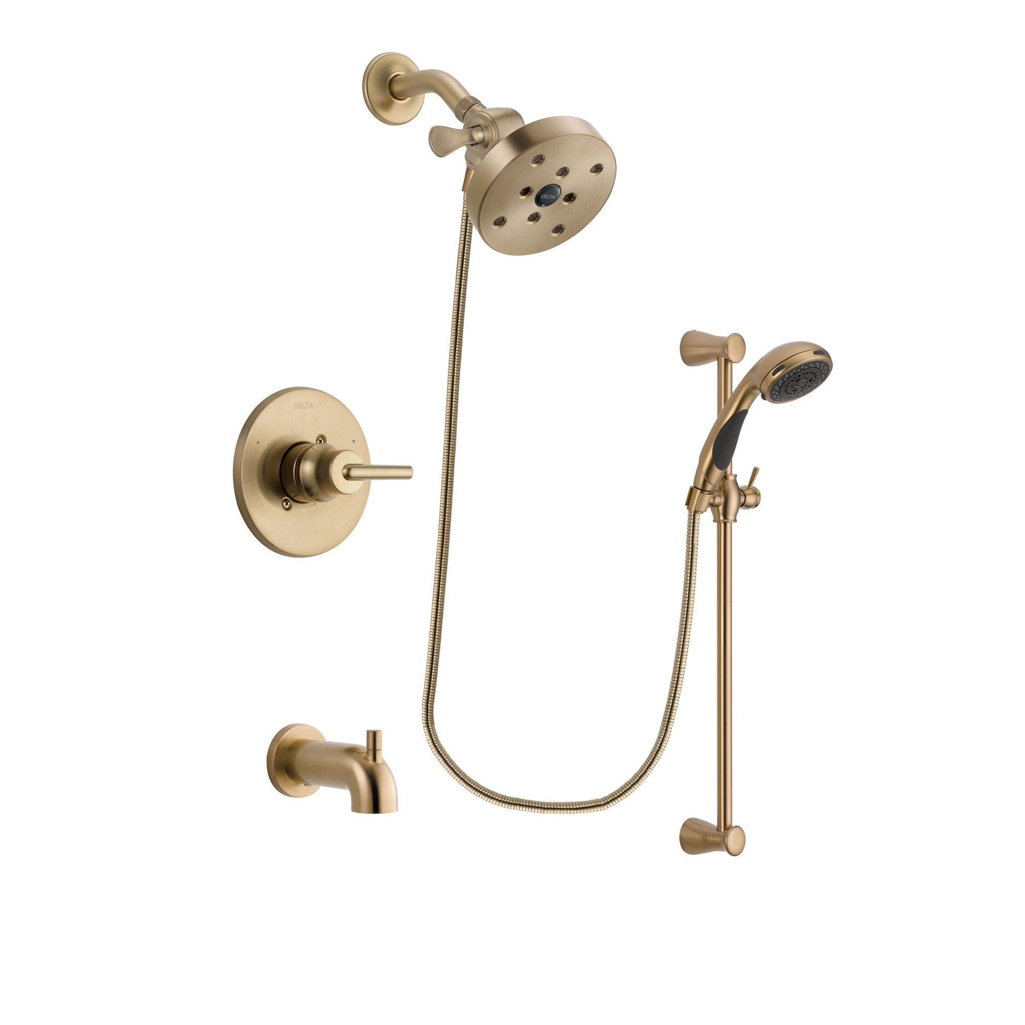 delta trinsic champagne bronze finish tub and shower faucet system package with 51