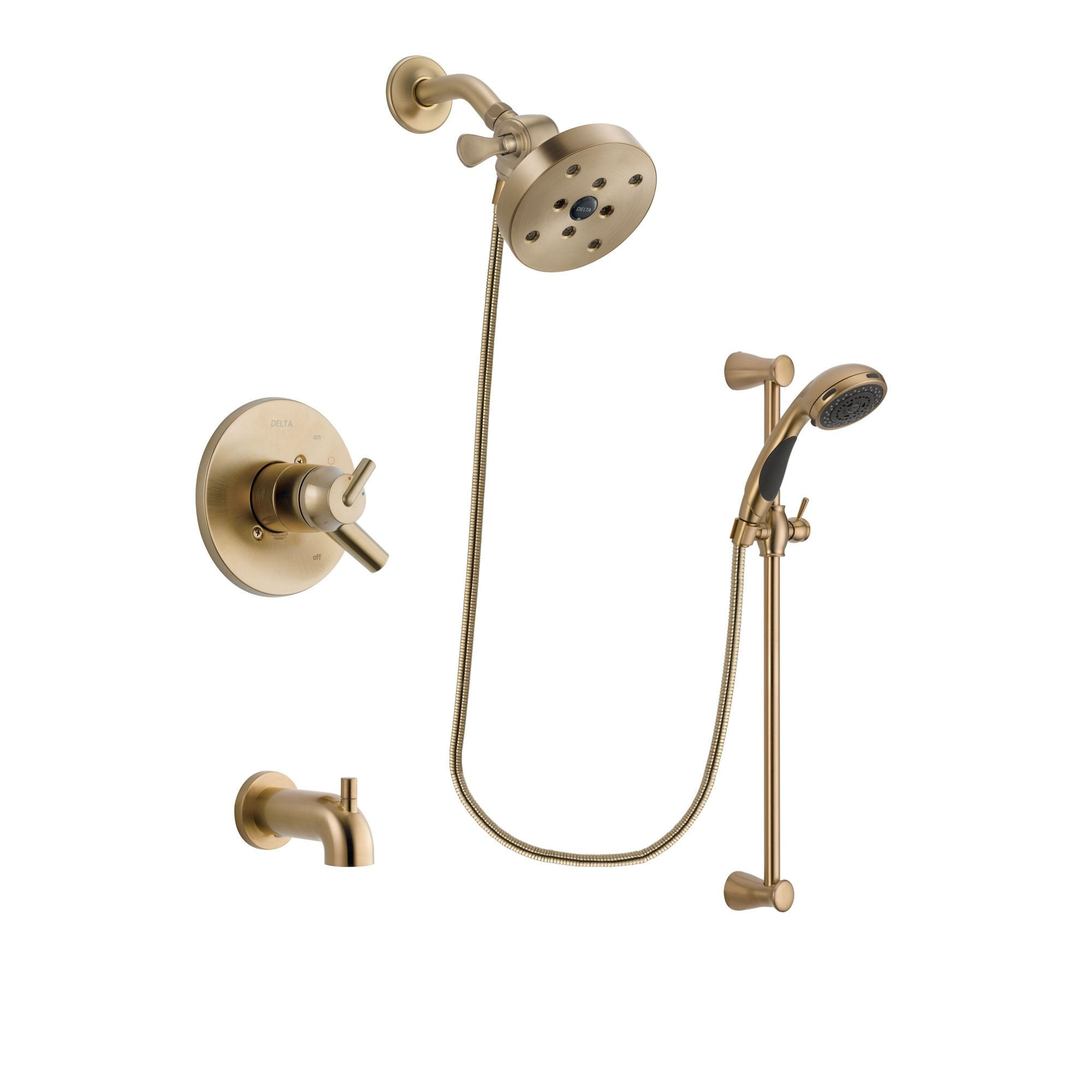 Delta Trinsic Champagne Bronze Tub and Shower System with Hand Shower DSP3517V