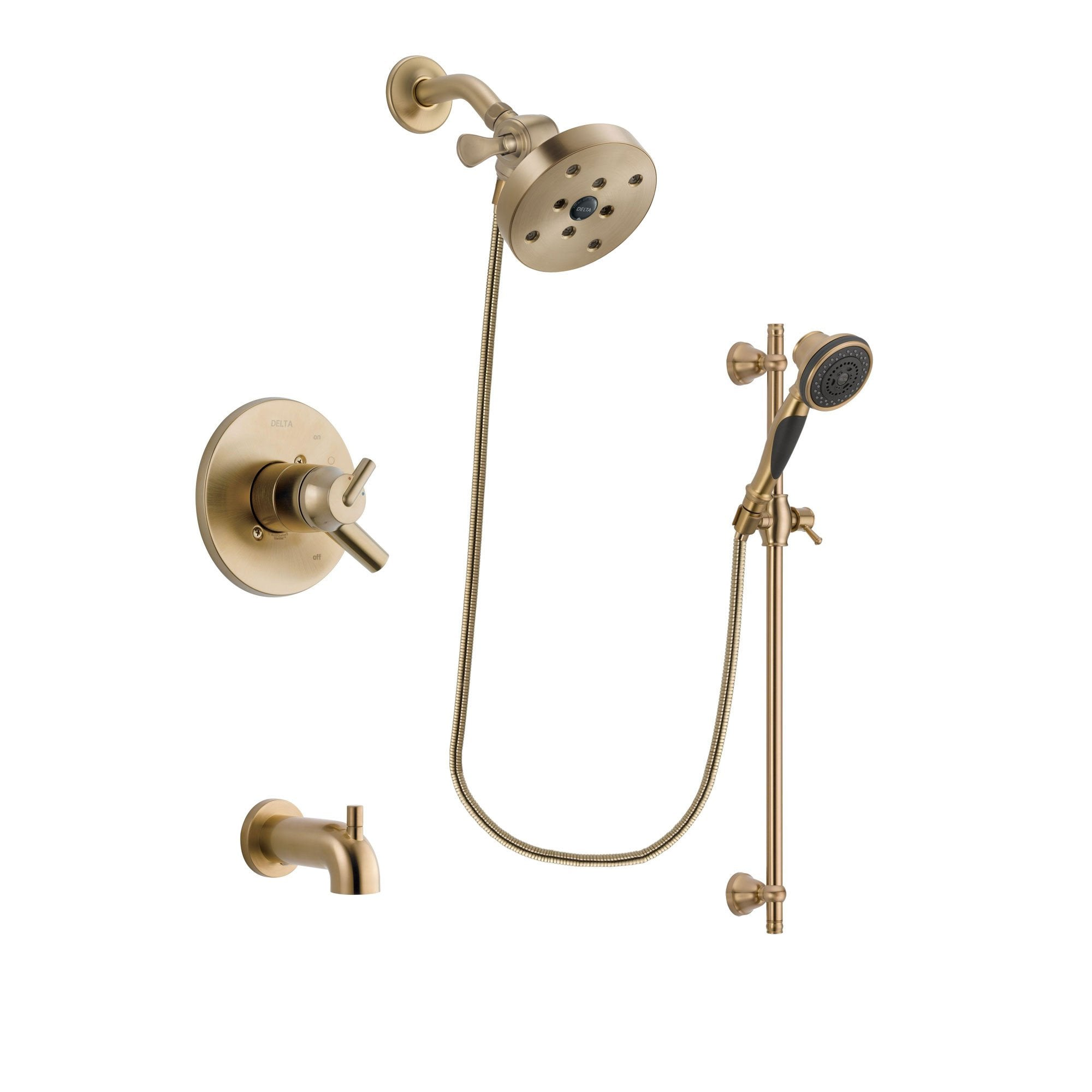 Delta Trinsic Champagne Bronze Tub and Shower System with Hand Shower DSP3621V