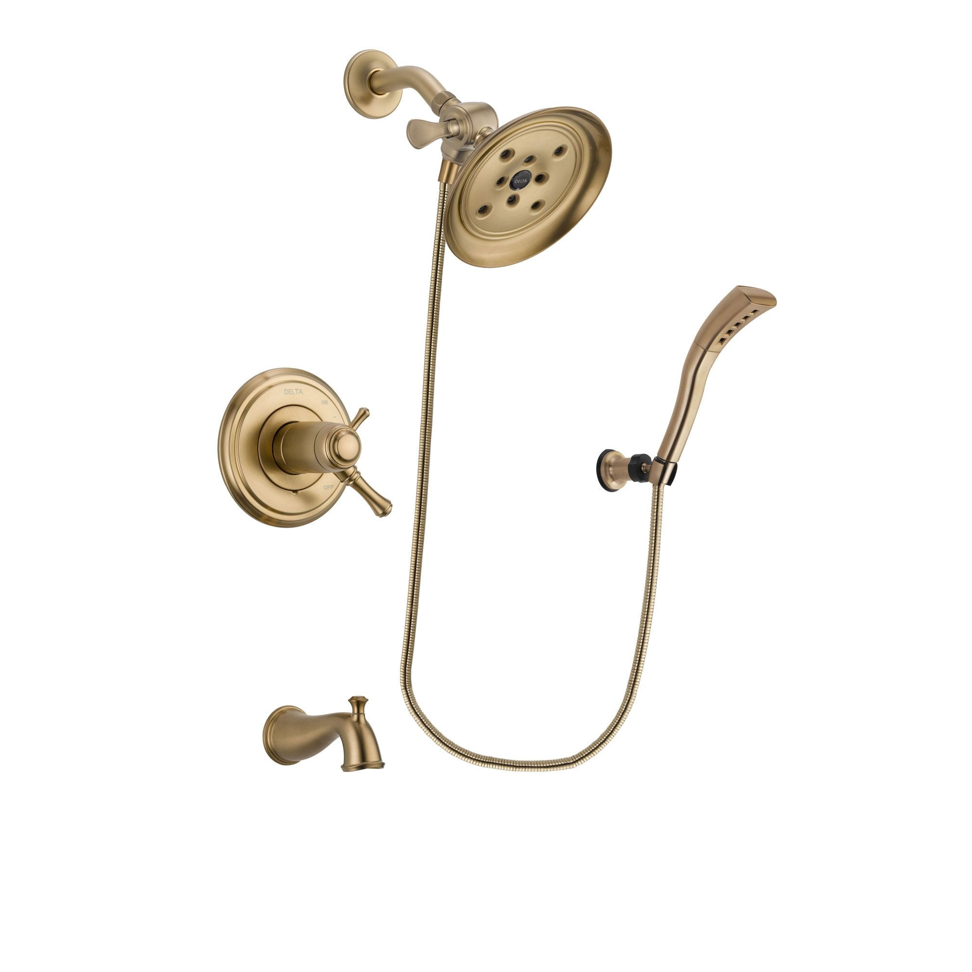 Delta Cassidy Champagne Bronze Finish Thermostatic Tub and Shower Faucet System Package with Large Rain Shower Head and Modern Wall Mount Personal Handheld Shower Spray Includes Rough-in Valve and Tub Spout DSP3687V