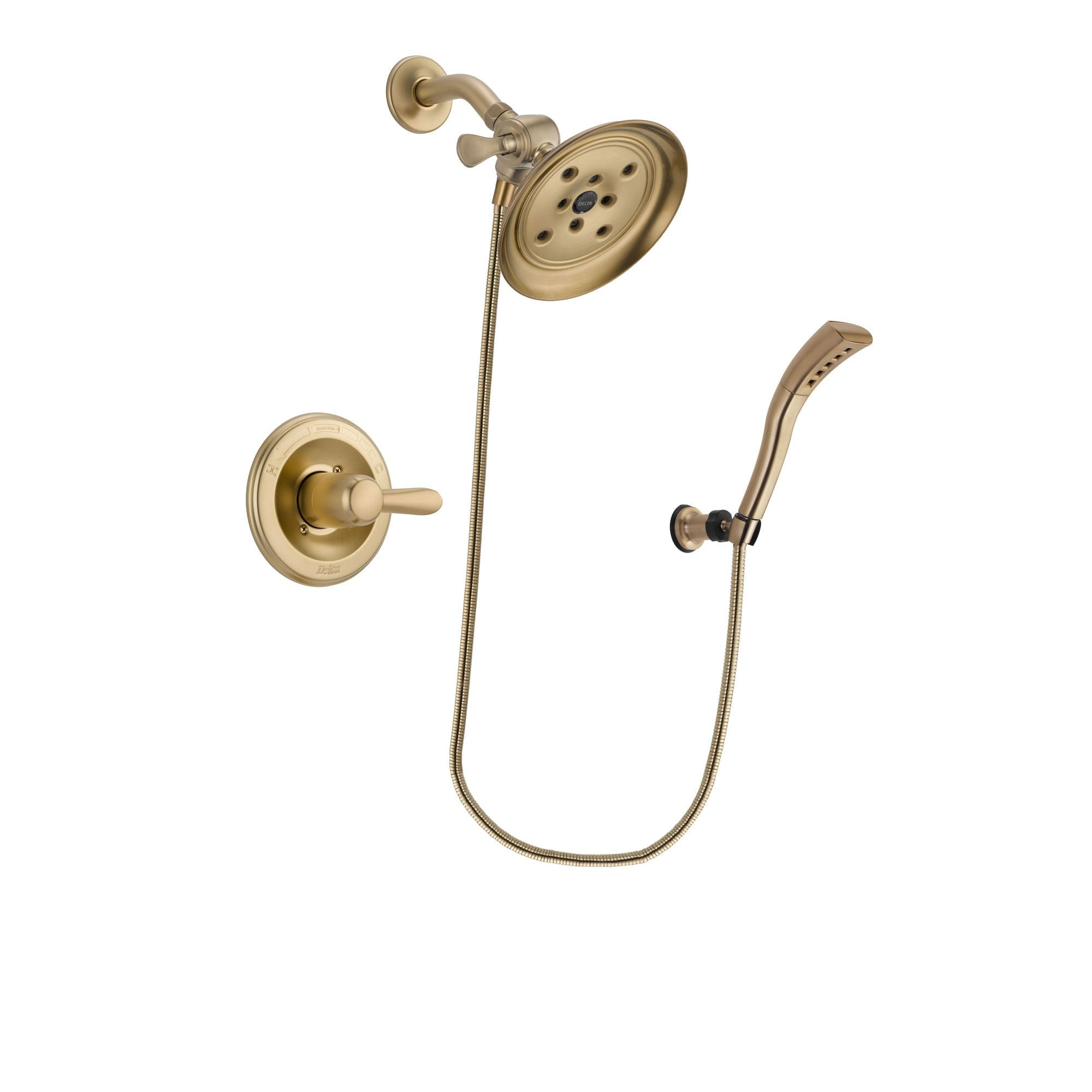 Delta Lahara Champagne Bronze Finish Shower Faucet System Package with Large Rain Shower Head and Modern Wall Mount Personal Handheld Shower Spray Includes Rough-in Valve DSP3690V