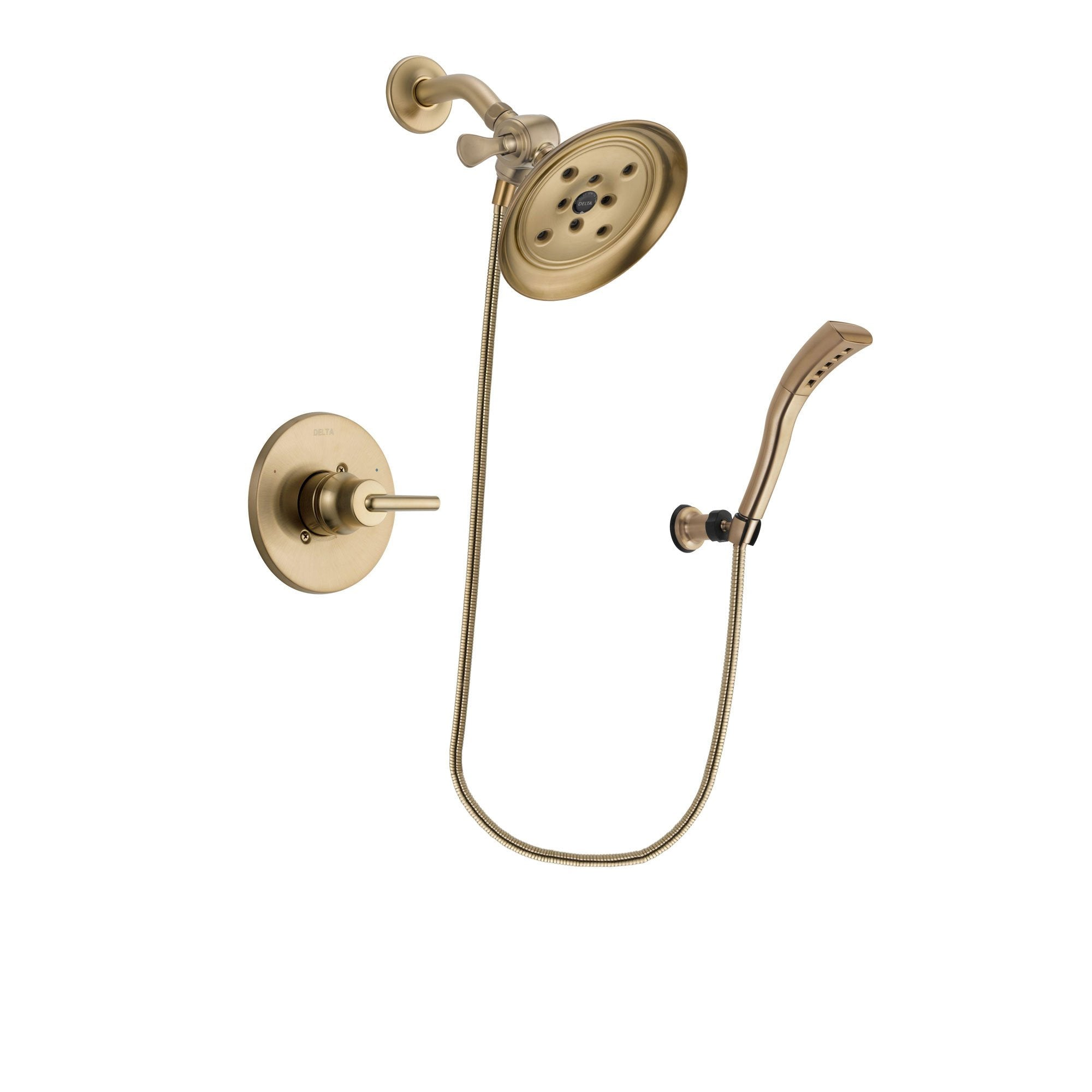 Delta Trinsic Champagne Bronze Finish Shower Faucet System Package with Large Rain Shower Head and Modern Wall Mount Personal Handheld Shower Spray Includes Rough-in Valve DSP3692V