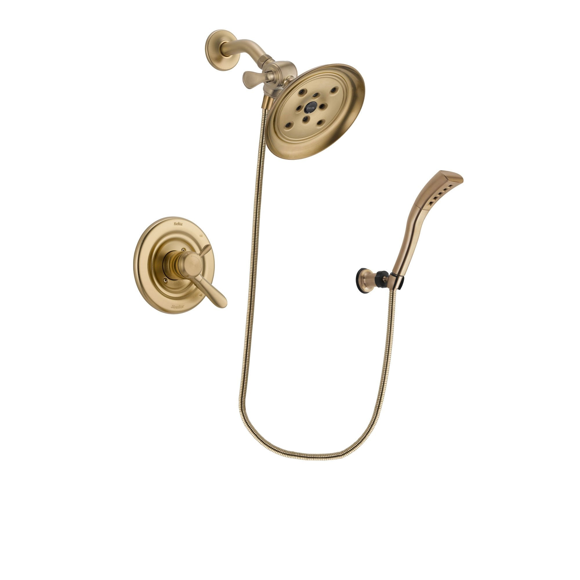 Delta Lahara Champagne Bronze Finish Dual Control Shower Faucet System Package with Large Rain Shower Head and Modern Wall Mount Personal Handheld Shower Spray Includes Rough-in Valve DSP3698V