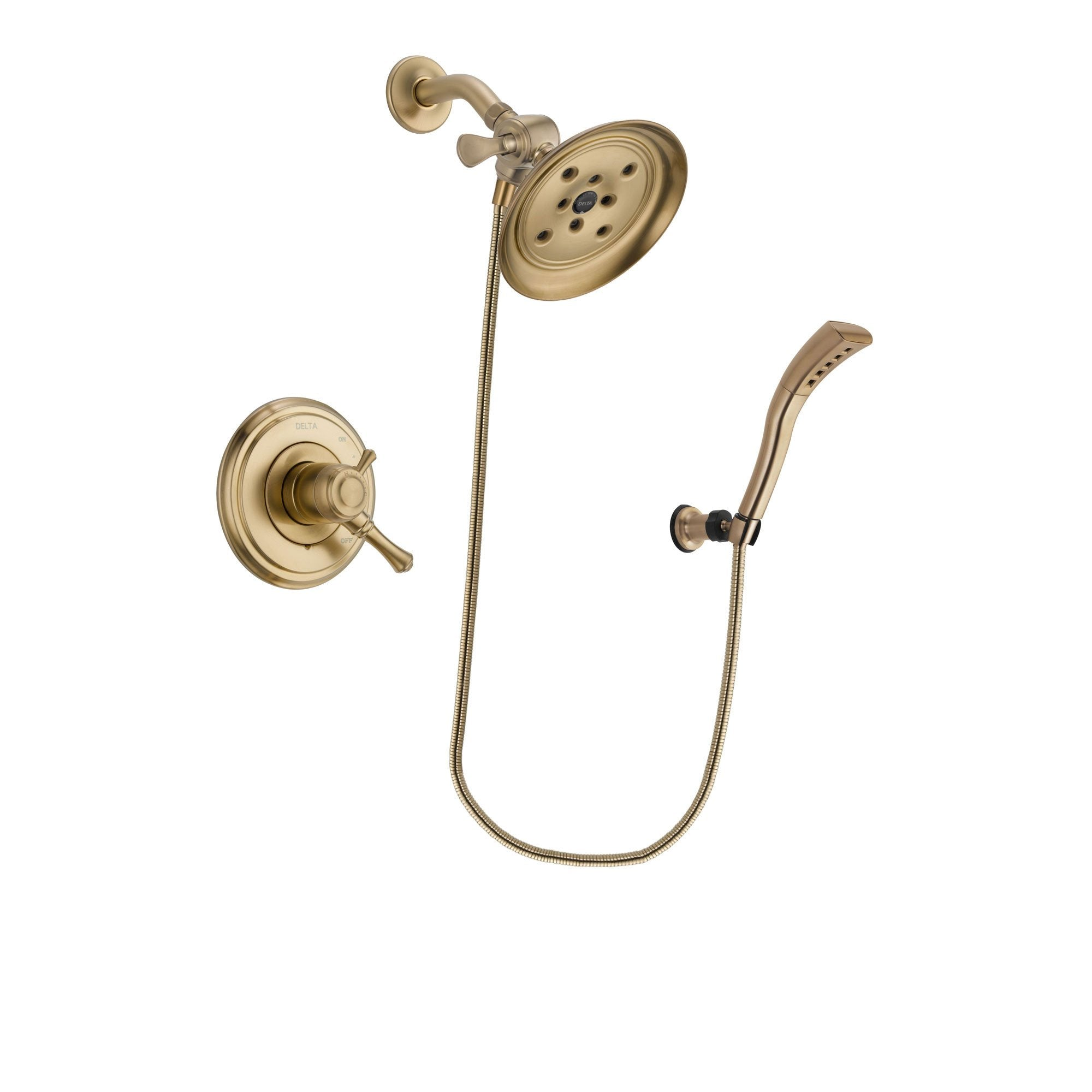 Delta Cassidy Champagne Bronze Finish Dual Control Shower Faucet System Package with Large Rain Shower Head and Modern Wall Mount Personal Handheld Shower Spray Includes Rough-in Valve DSP3706V