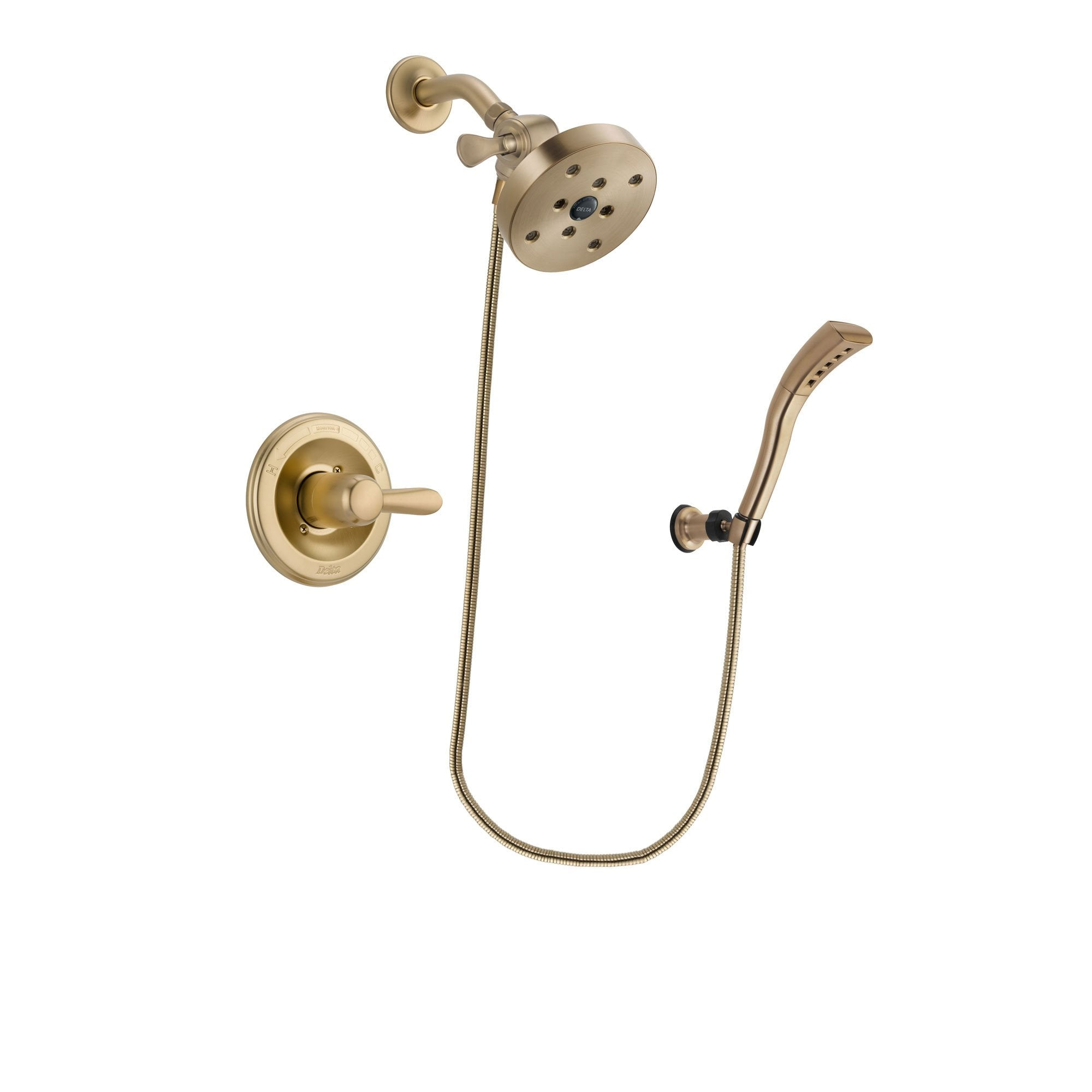 Delta Lahara Champagne Bronze Finish Shower Faucet System Package with 5-1/2 inch Showerhead and Modern Wall Mount Personal Handheld Shower Spray Includes Rough-in Valve DSP3716V