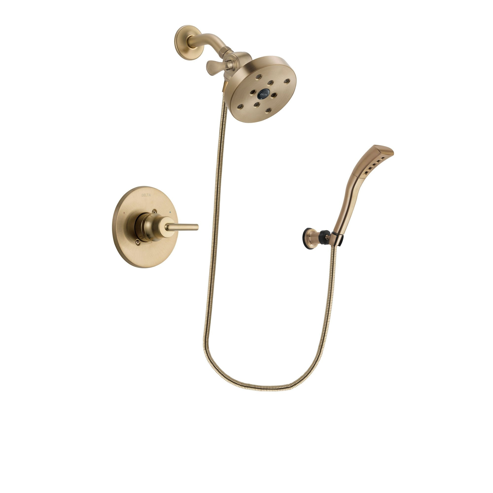 Delta Trinsic Champagne Bronze Finish Shower Faucet System Package with 5-1/2 inch Showerhead and Modern Wall Mount Personal Handheld Shower Spray Includes Rough-in Valve DSP3718V
