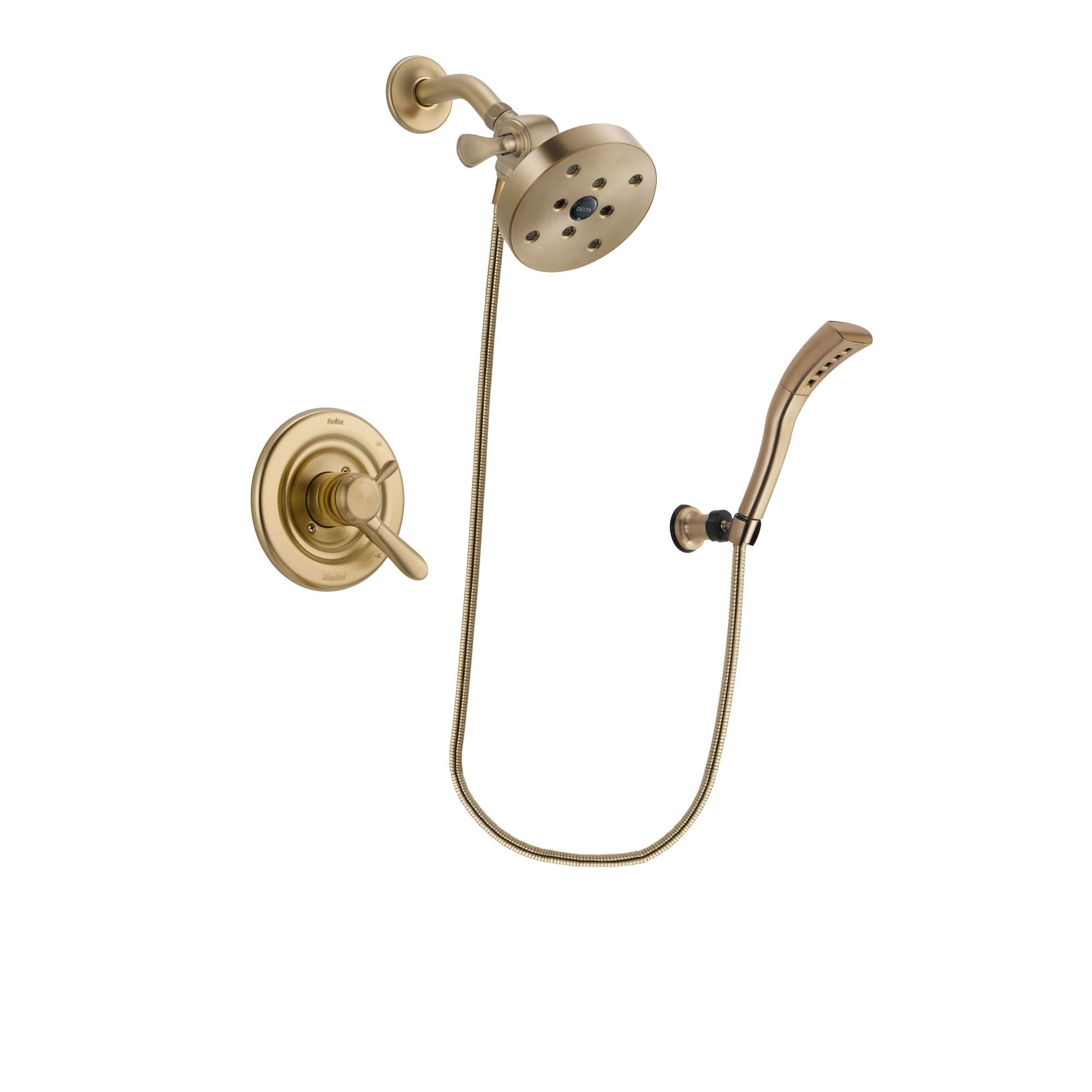 Delta Lahara Champagne Bronze Finish Dual Control Shower Faucet System Package with 5-1/2 inch Showerhead and Modern Wall Mount Personal Handheld Shower Spray Includes Rough-in Valve DSP3724V