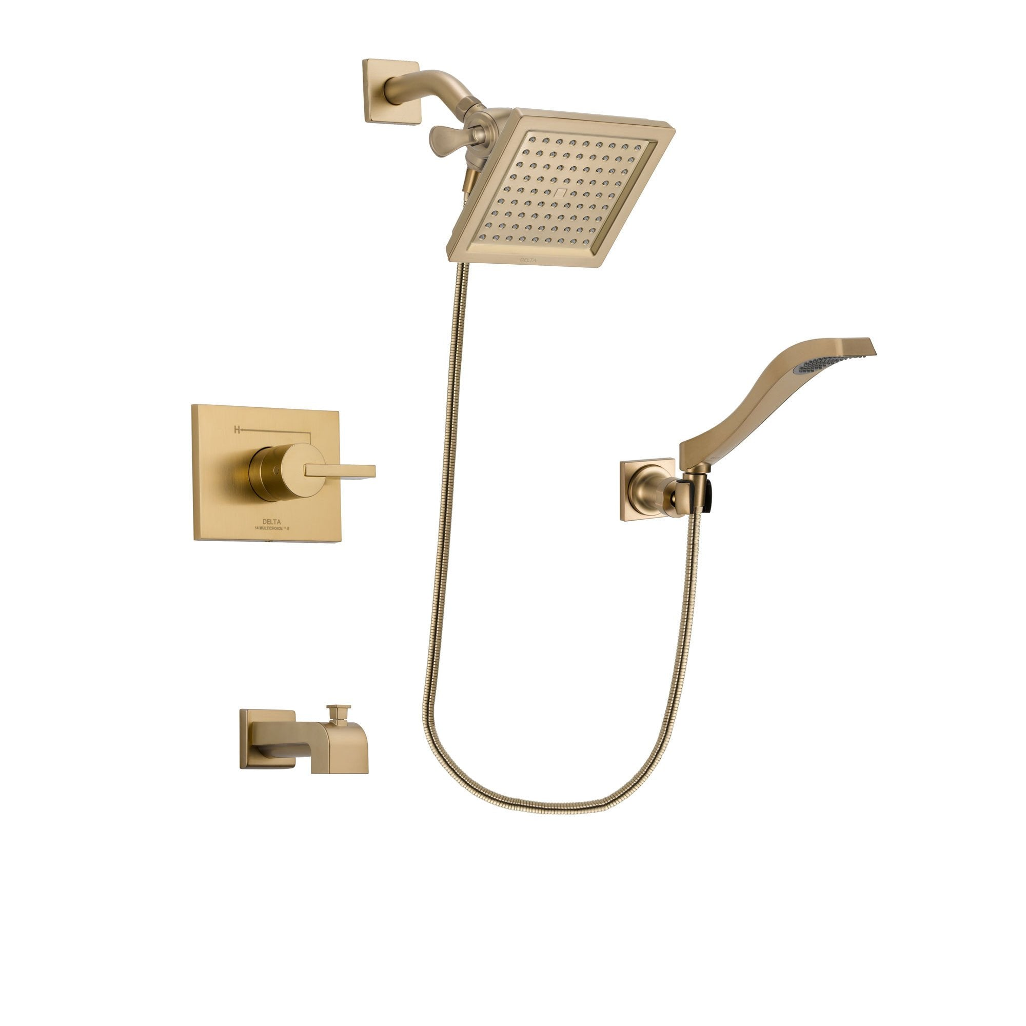 Delta Vero Champagne Bronze Tub and Shower Faucet System w/ Hand Spray DSP3855V
