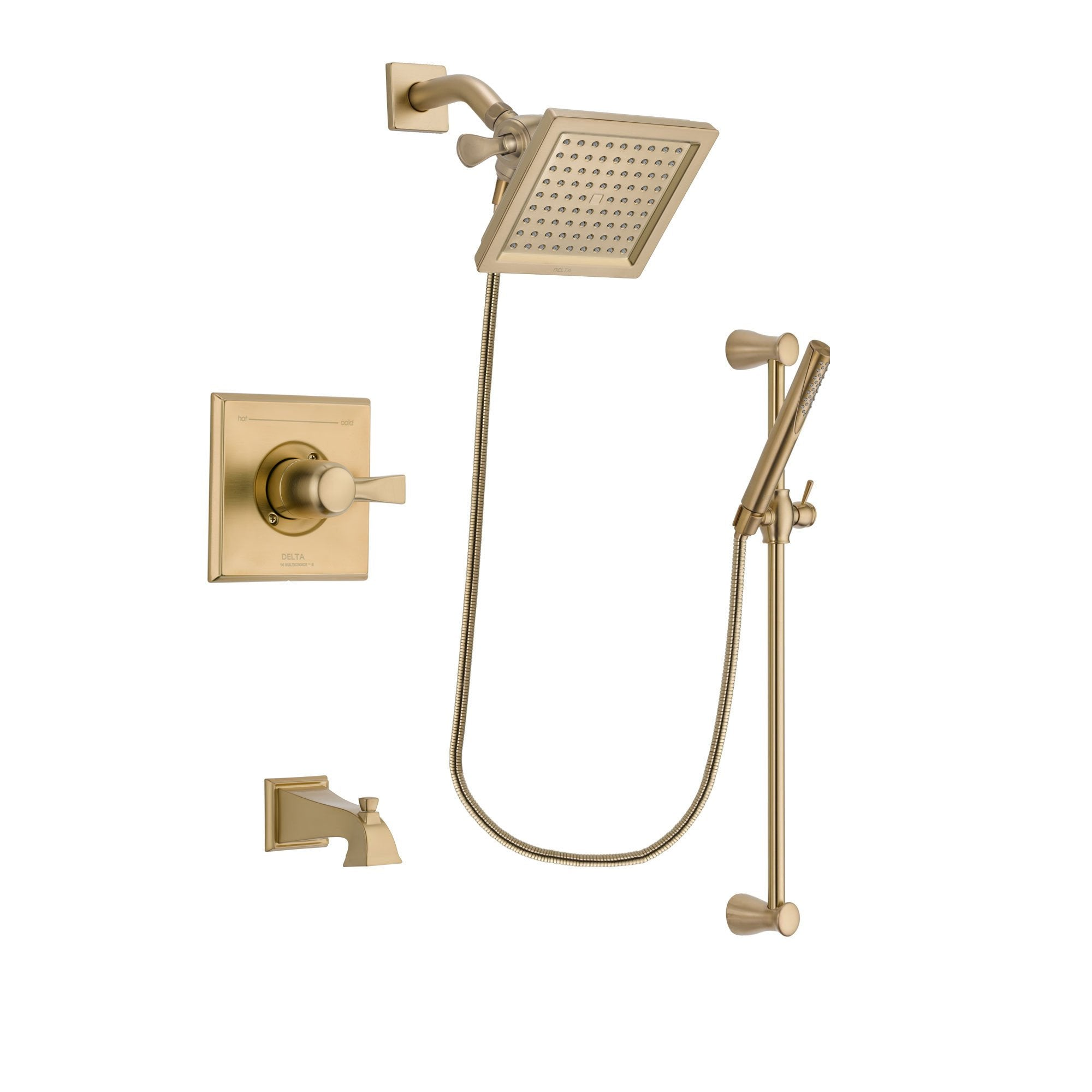 Delta Dryden Champagne Bronze Finish Tub And Shower Faucet System Package  With 6.5 Inch Square