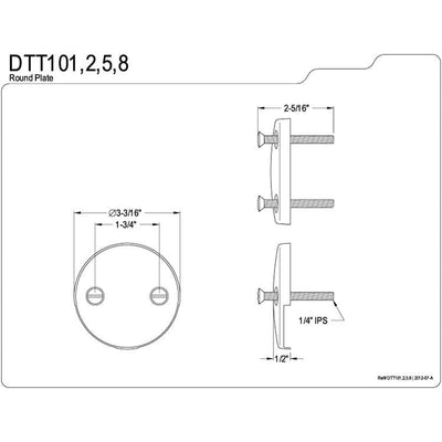 Kingston Brass Polished Brass Tub 2 Hole Overflow Cover Plate DTT102