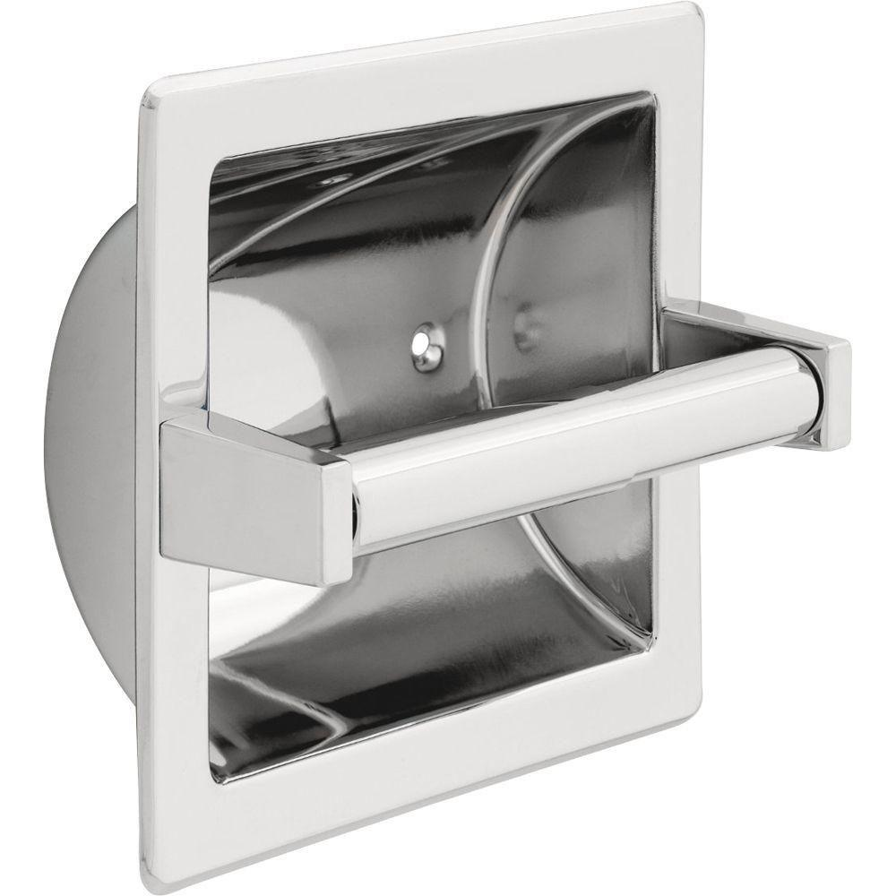 Delta Recessed Toilet Paper Holder With Roller In Chrome 572868 Faucetlist Com