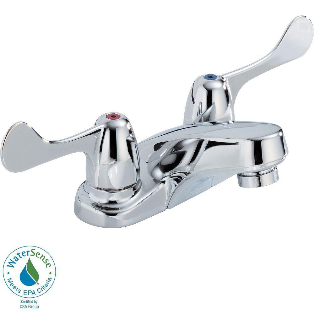 Delta Commercial 4 inch Centerset 2-Handle Low Arc Bathroom Faucet in Chrome 572908