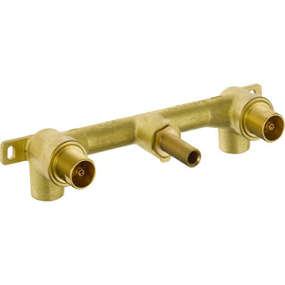 Delta Trinsic Modern Champagne Bronze Finish Two Handle Wall Mount Tub Filler Faucet Includes Rough-in Valve D3027V