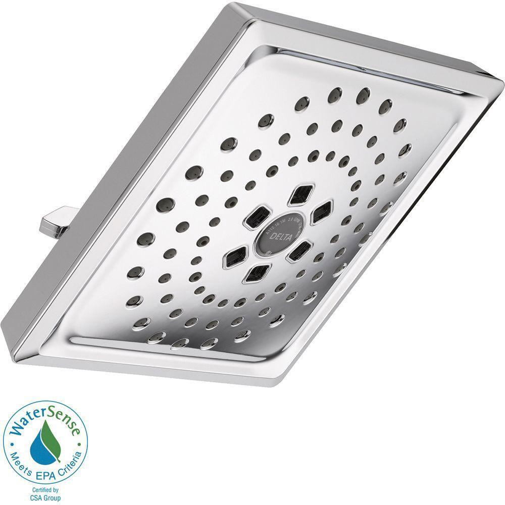 Delta 3-Spray 7-5/8 inch H2OKinetic Square Raincan Showerhead in Chrome 667539
