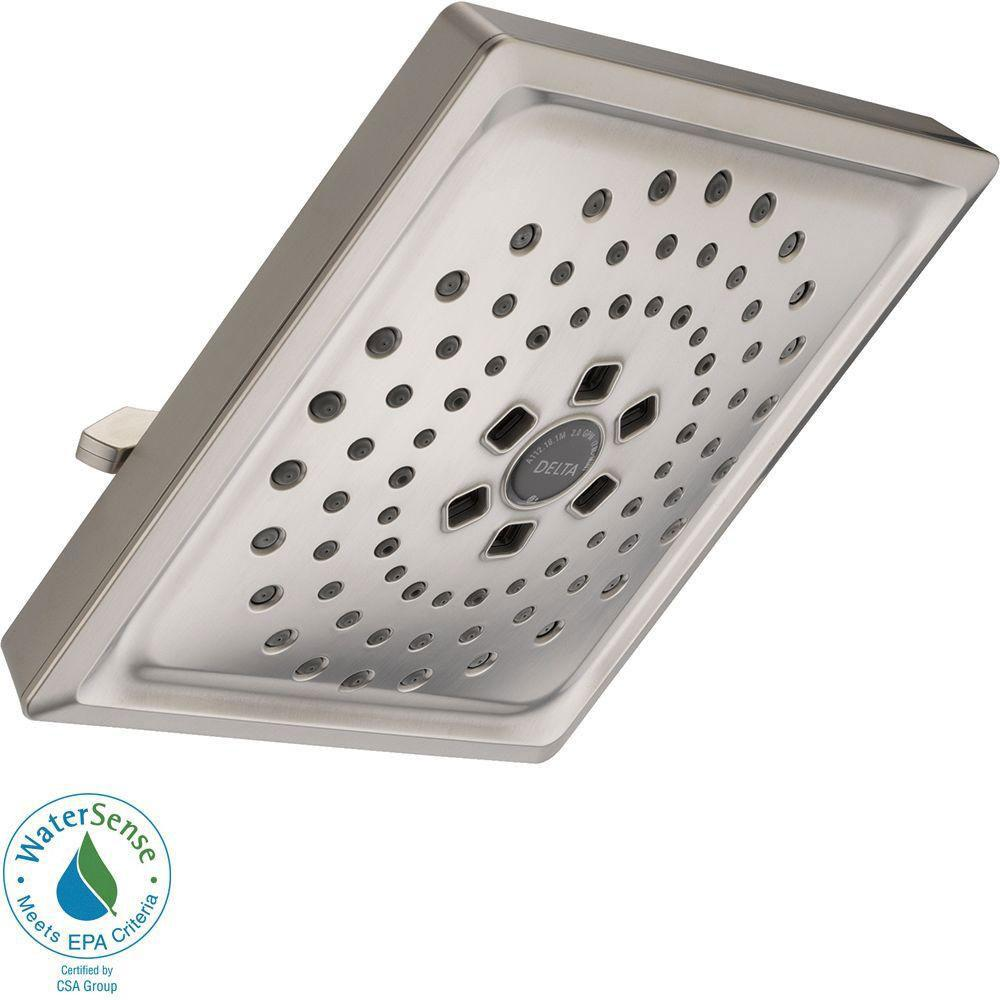 Delta 3-Spray 7-5/8 inch H2OKinetic Square Raincan Showerhead in Stainless Steel Finish 667544