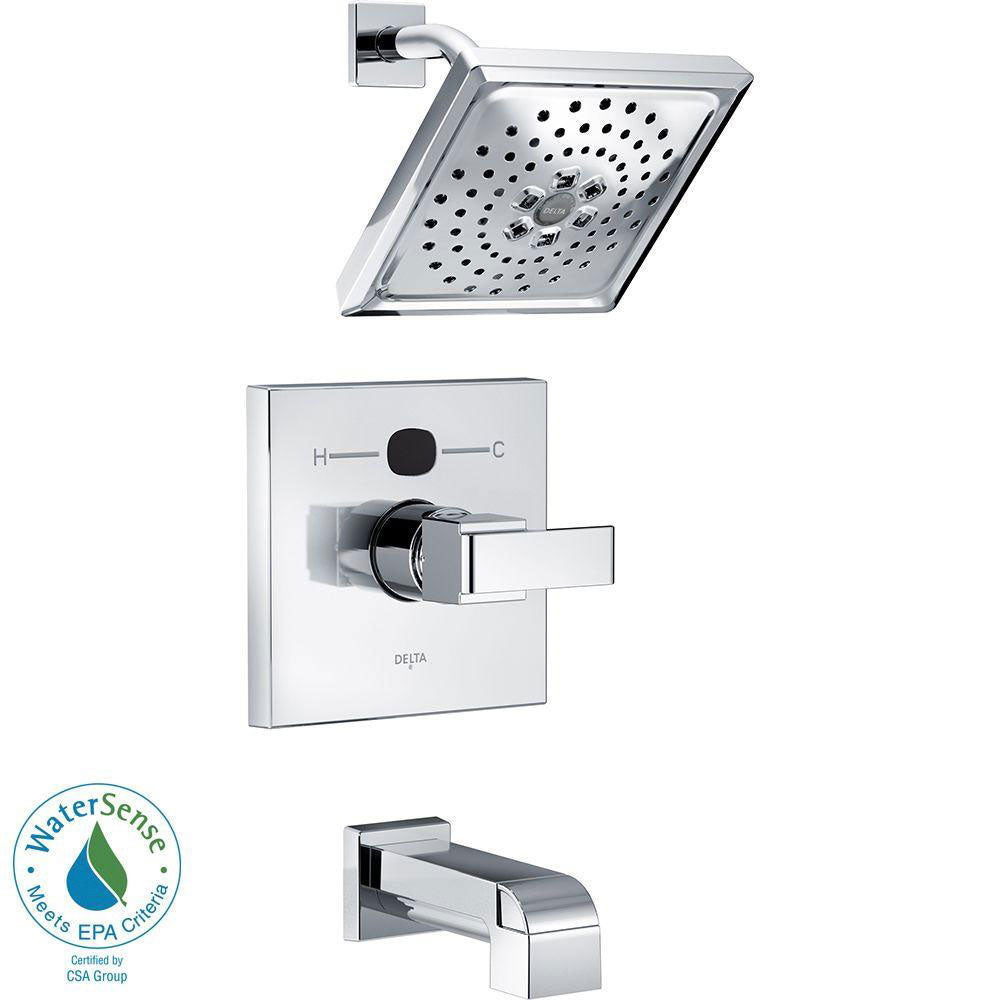Delta Temp2O Angular Modern 1-Handle Tub and Shower Faucet Trim Kit in Chrome (Valve Not Included) 667558