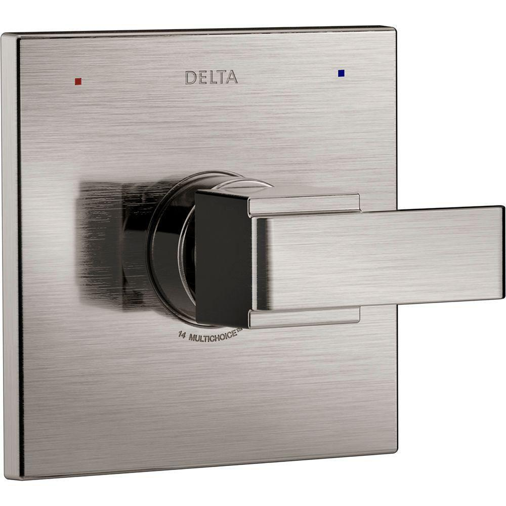 Delta Ara Monitor 14 Series 1-Handle Temperature Control Valve Trim Kit in Stainless Steel Finish (Valve Not Included) 682967