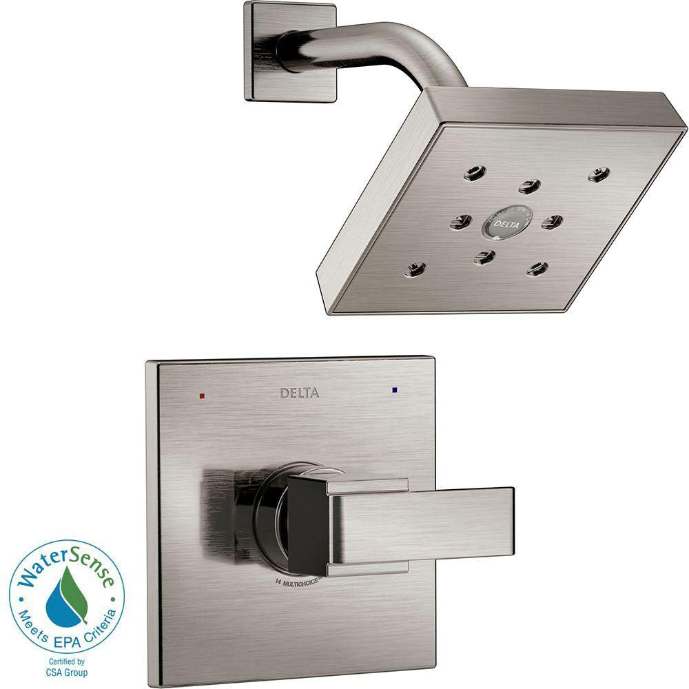 Delta Ara 1-Handle Shower Faucet Trim Kit in Stainless Steel Finish Featuring H2Okinetic (Valve Not Included) 682968