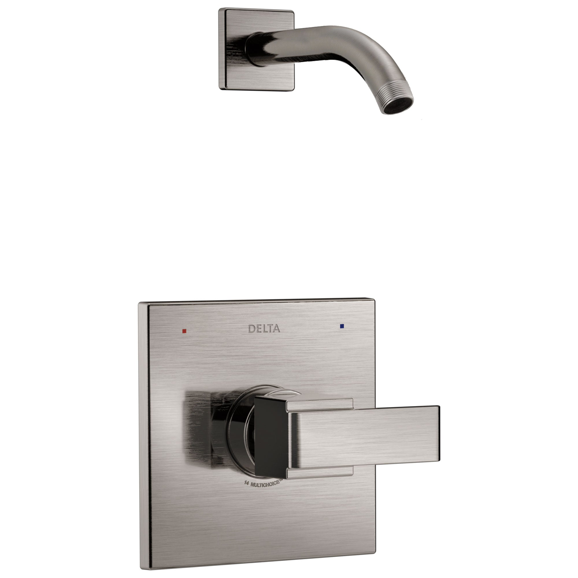 Delta Ara 1-Handle Shower Faucet Trim Kit in Stainless Steel Finish with Less Showerhead Includes Rough-in Valve without Stops D2562V