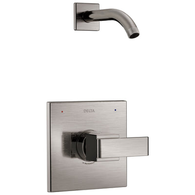Delta Ara 1-Handle Shower Faucet Trim Kit in Stainless Steel Finish with Less Showerhead Includes Rough-in Valve with Stops D2563V