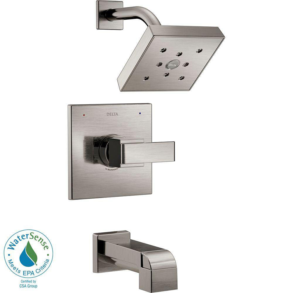 Delta Ara 1-Handle Tub and Shower Faucet Trim Kit in Stainless Steel Finish Featuring H2Okinetic (Valve Not Included) 682971
