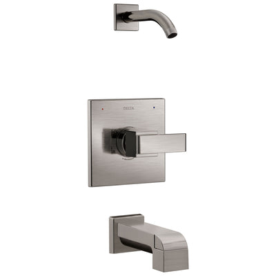 Delta Ara 1-Handle Tub and Shower Faucet Trim Kit in Stainless Steel Finish with Less Showerhead Includes Rough-in Valve without Stops D2564V