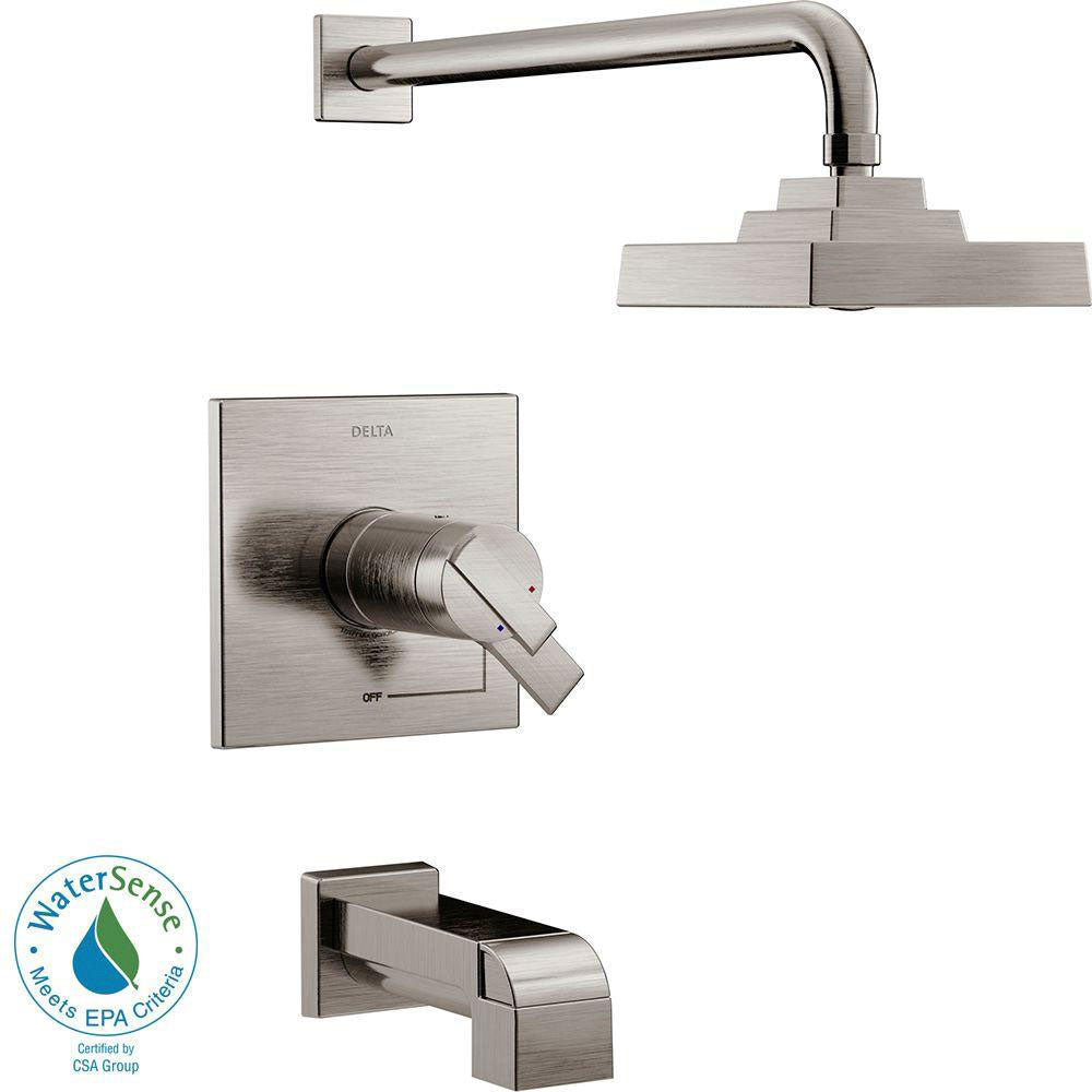 Delta Ara TempAssure 17T Series 1-Handle Tub and Shower Faucet Trim Kit Only in Stainless Steel Finish (Valve Not Included) 682977