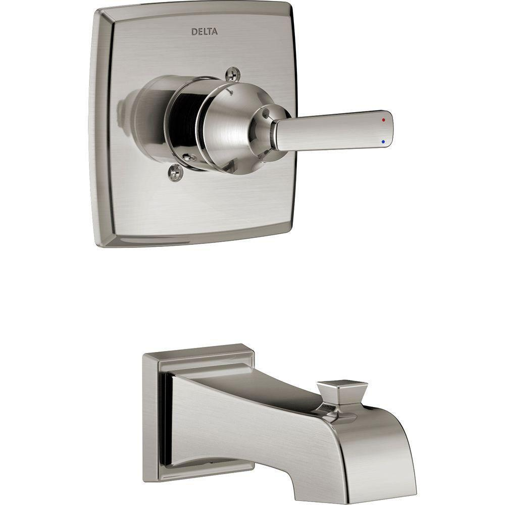 Delta Ashlyn 1-Handle Tub Filler Trim Kit in Stainless Steel Finish (Valve Not Included) 685374