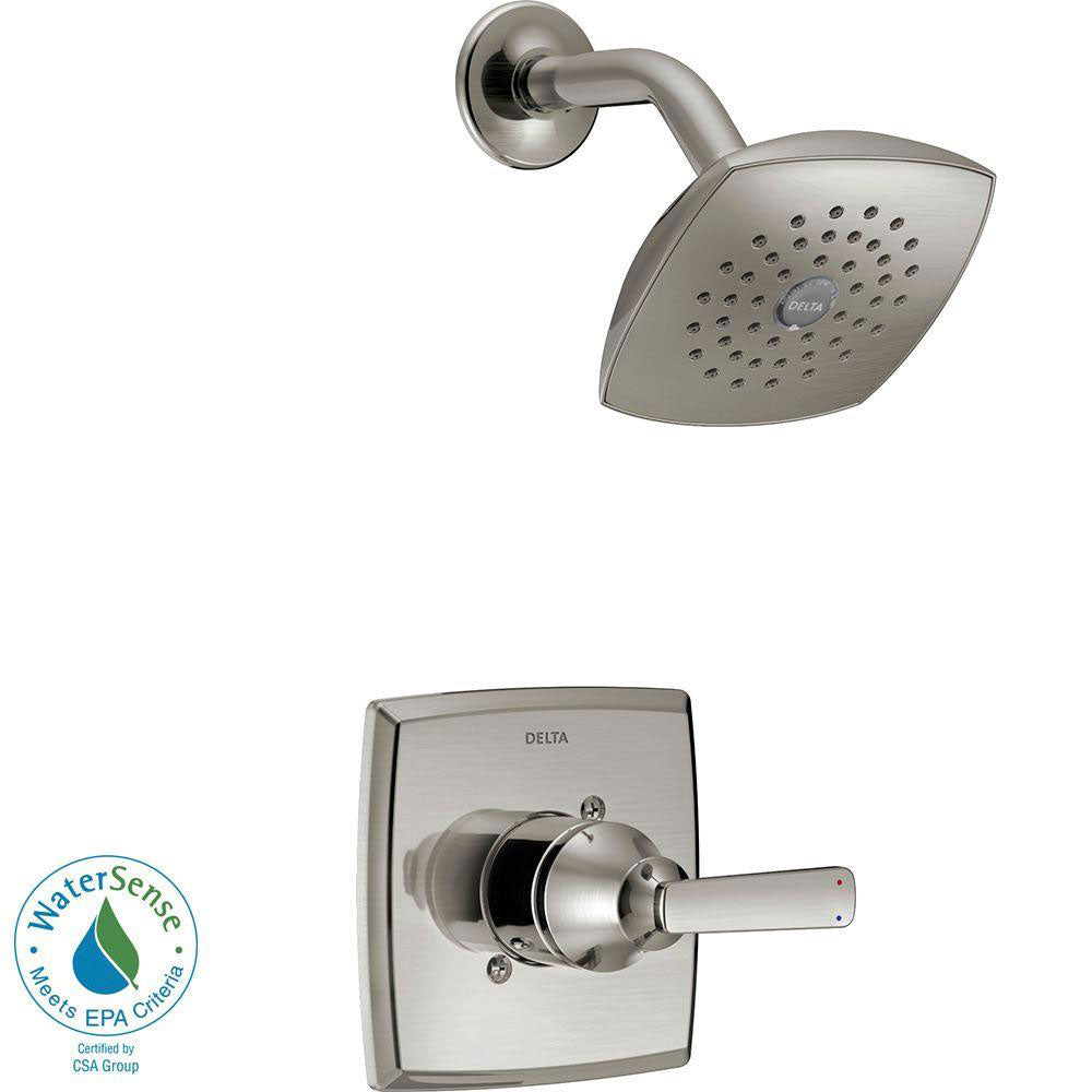 Delta Ashlyn 1-Handle Pressure Balance Shower Faucet Trim Kit in Stainless Steel Finish (Valve Not Included) 685377