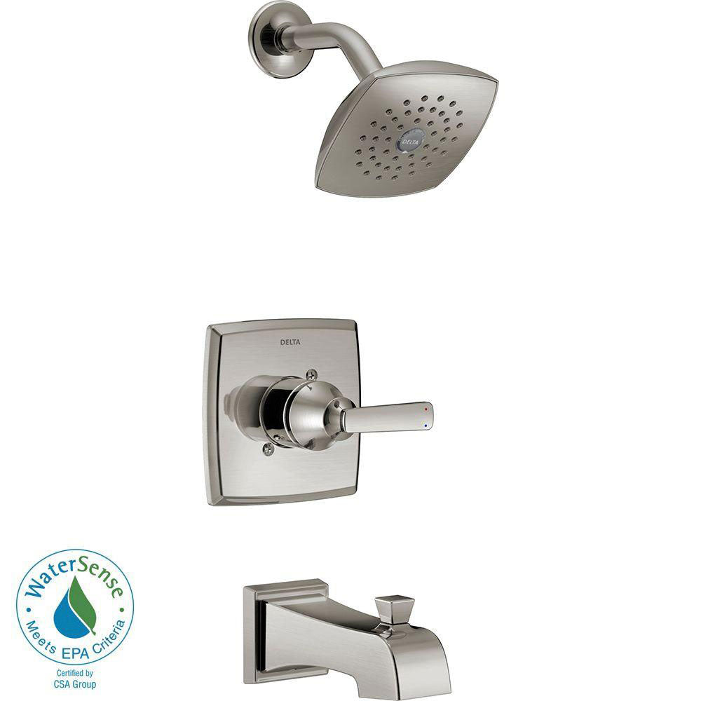 Delta Ashlyn 1-Handle Pressure Balance Tub and Shower Faucet Trim Kit in Stainless Steel Finish (Valve Not Included) 685380