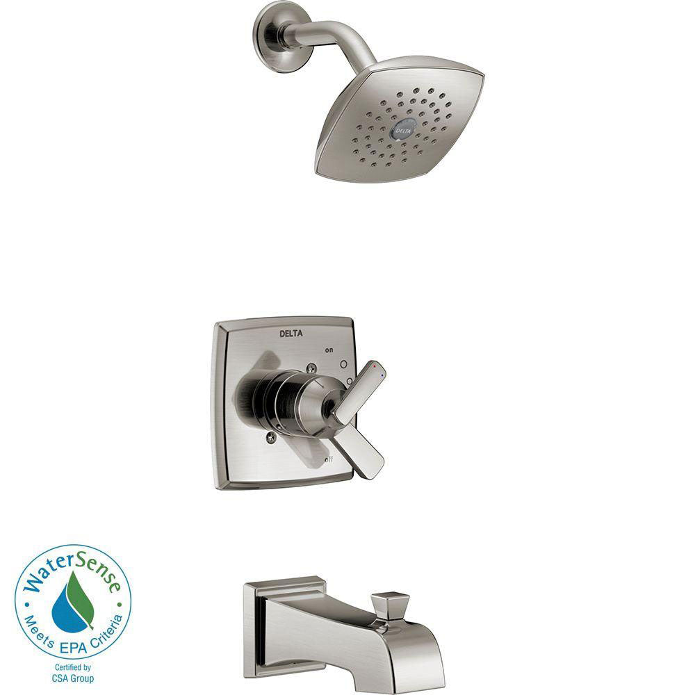 Delta Ashlyn 1-Handle Pressure Balance Tub and Shower Faucet Trim Kit in Stainless Steel Finish (Valve Not Included) 685394