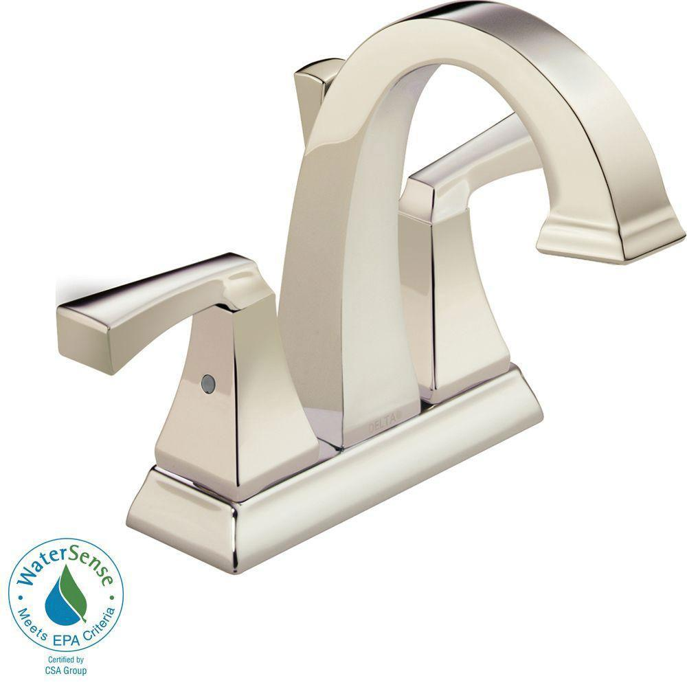 Delta Dryden 4 inch Centerset 2-Handle Bathroom Faucet in Polished Nickel with Metal Pop-Up 702287