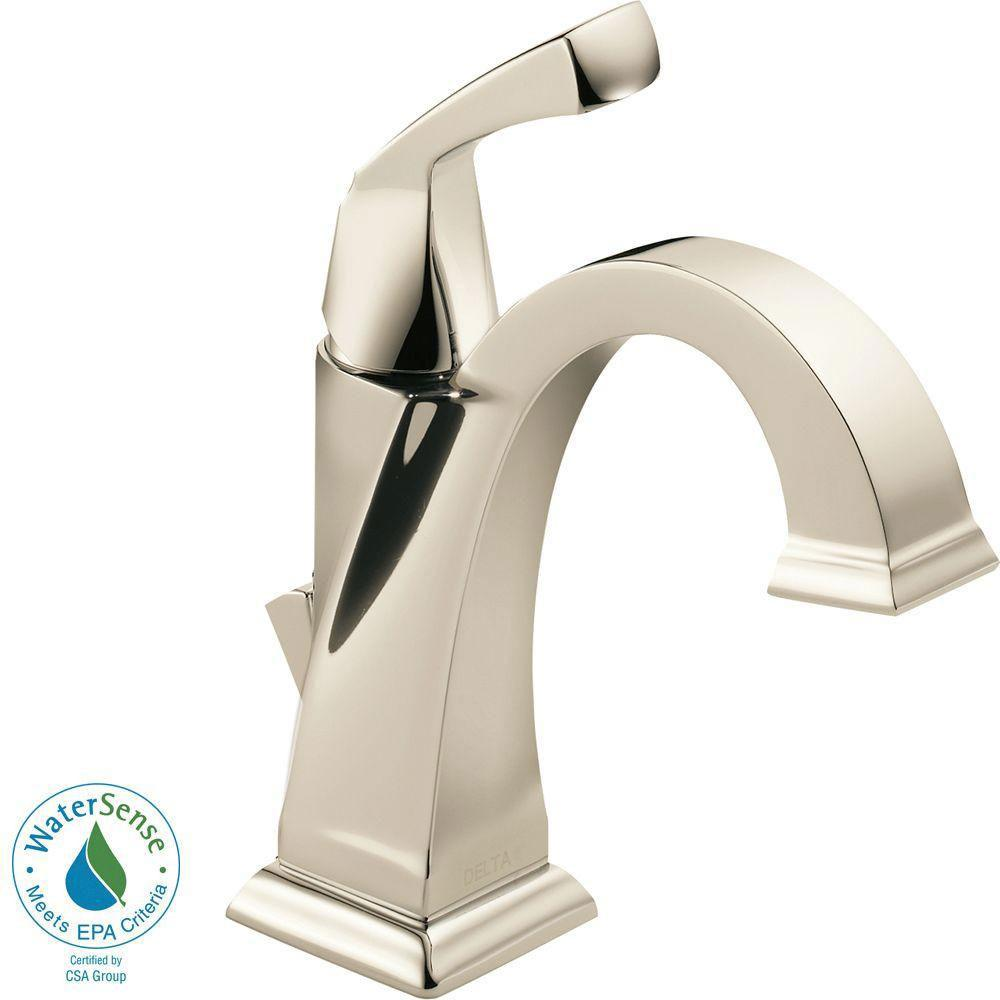 Delta Dryden Single Hole 1 Handle Bathroom Faucet In Polished Nickel